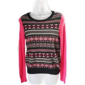 Halogen Cashmere Pink Geometric Striped Sweater S